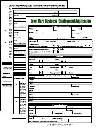 Lawn Care Industry Job Application  Pages Pdf Legal Size