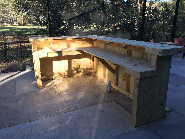 The Kitchen 10 X 6 2 Level L Shaped Rustic Wood Handmade Outdoor Patio Bar Outdoor Patio Decor Outdoor Patio Bar Patio Bar