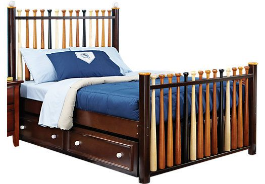 Trundle Beds Rooms To Go Batter Up Cherry 4 Pc Full Baseball