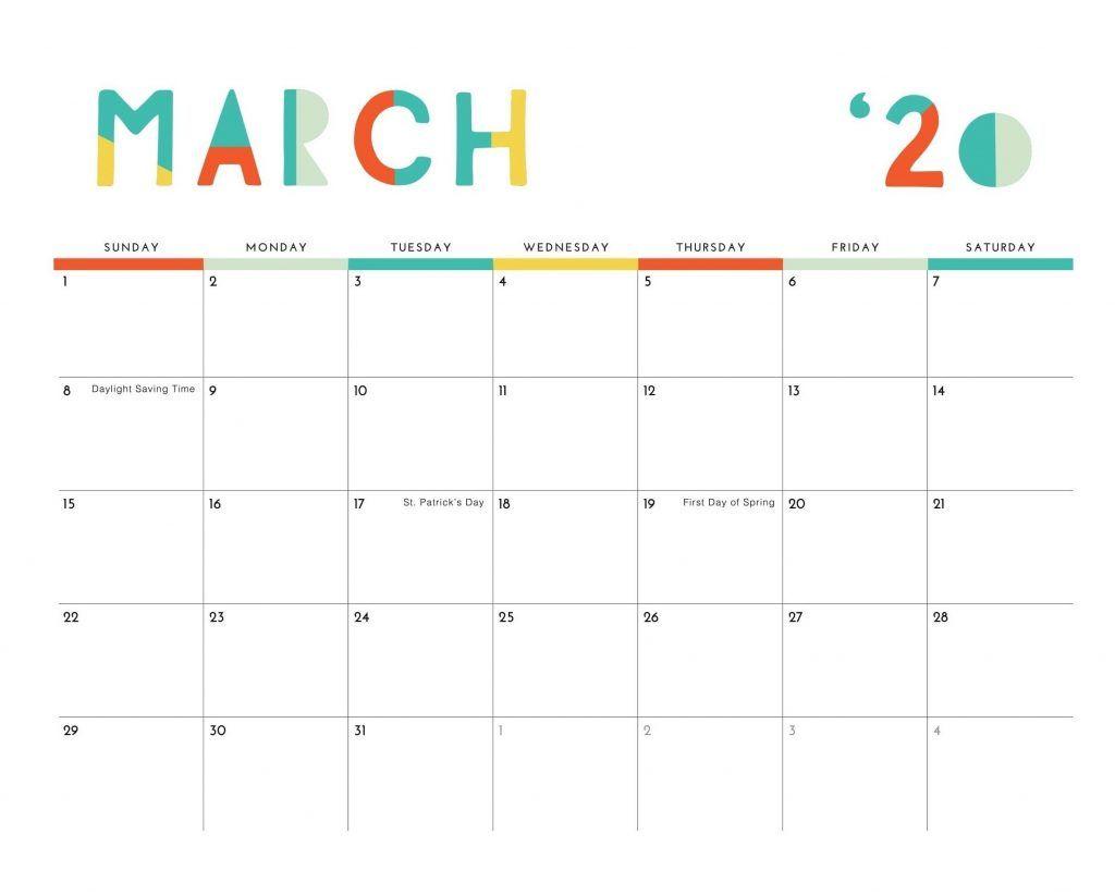 March 2020 Colorful Calendar In 2020 Desk Calendar Template Monthly Calendar Template Desk Calendars