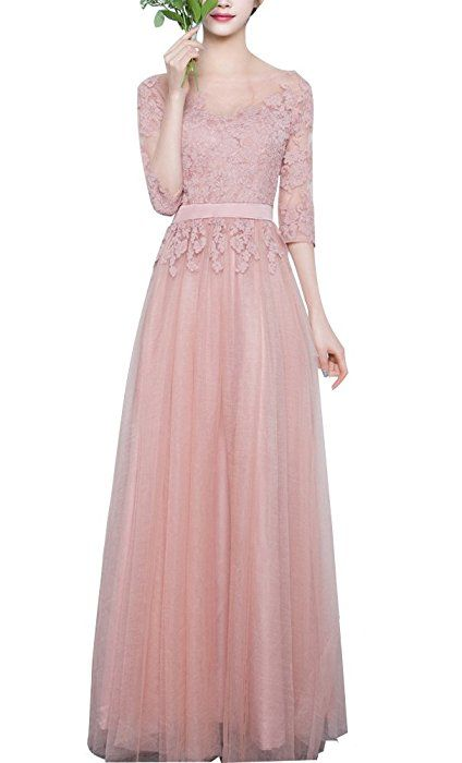 Minetom Damen Elegant A-Linie Lang Chiffon Spitze Abendkleid ...