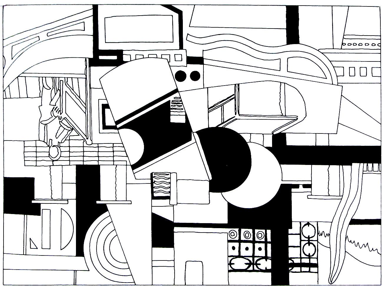 769f453b24fd The Deck of the Tugboat - modern art painting by Fernand Leger printable  coloring book page