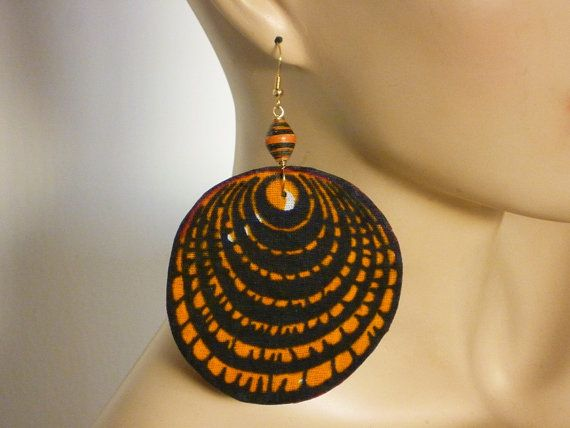African kitenge print fabric disc earring with by Dabangalicious, $25.00