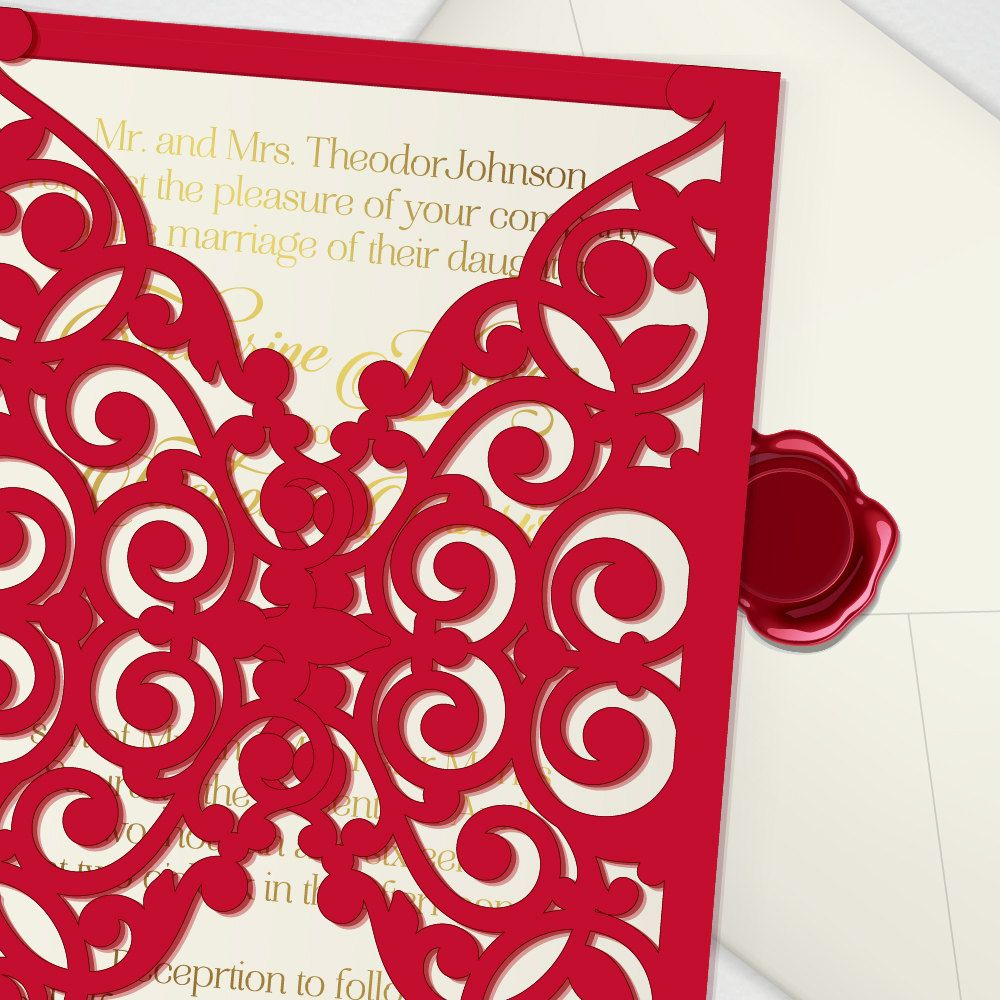 Vector laser cut wedding invitation template, laser cutting file for ...
