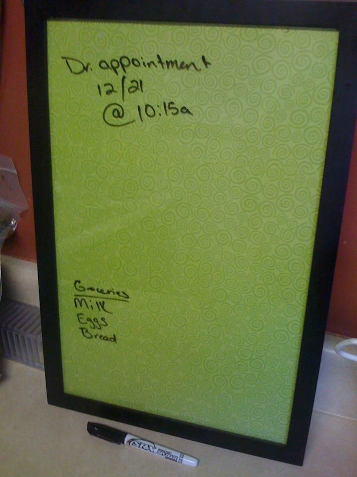 Dry Erase Board Made With Free Frame And 60 Paper From Hobby Lobby Dry Erase Board Free Frames Crafts
