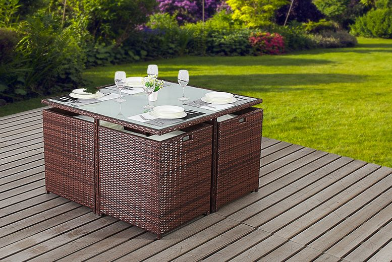 4 or 6 seat rattan garden furniture set wowcher pinterest rattan garden furniture sets