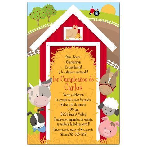 Invitaciones Con Tema De Granja Fiesta De Animales De