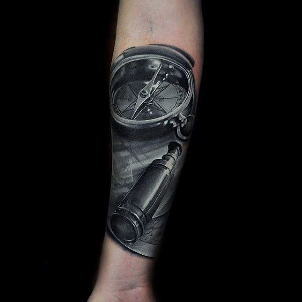 Grey Colored Compass Realism Tattoo Mens Forearms ...