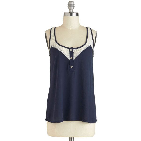Lacy Day In Tank in Navy ($38) ❤ liked on Polyvore