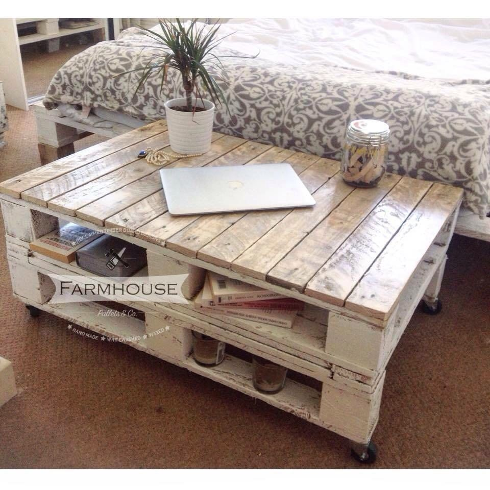 Shabby Chic Couchtisch Farmhouse Industrial Reclaimed Pallet Coffee Table Shabby Chic Upcycled Wheels Solid Woo… | Pallet Furniture Designs, Diy Pallet Furniture, Shabby Chic Coffee Table