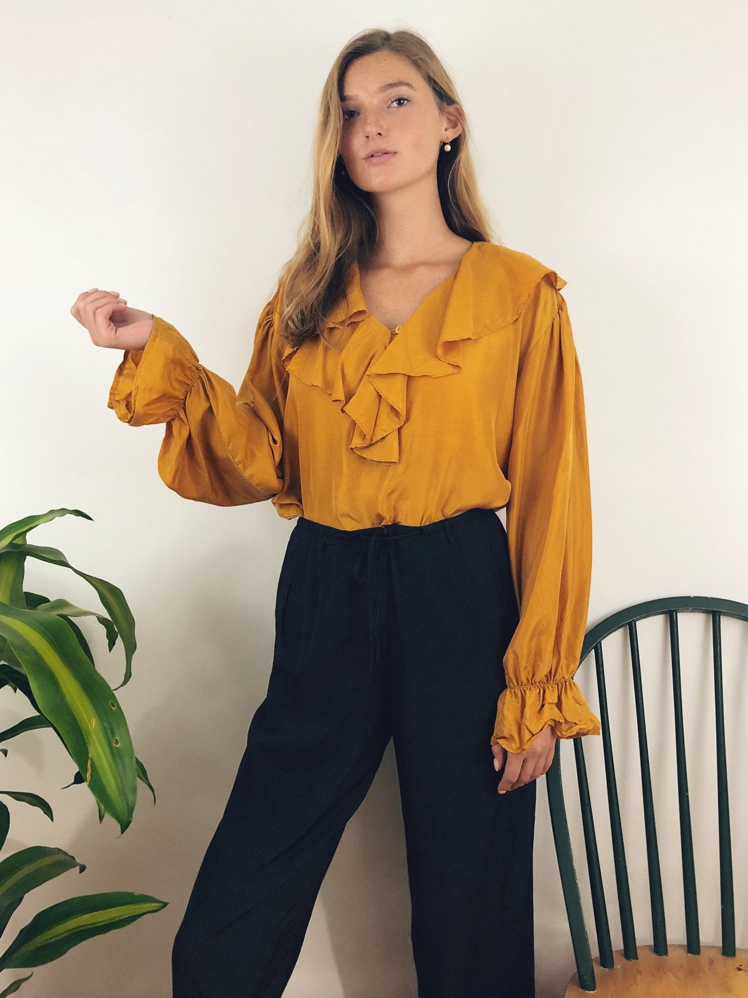 db804b06a638f This silk blouse has been ruffled to perfection in the most glorious shade  of golden yellow
