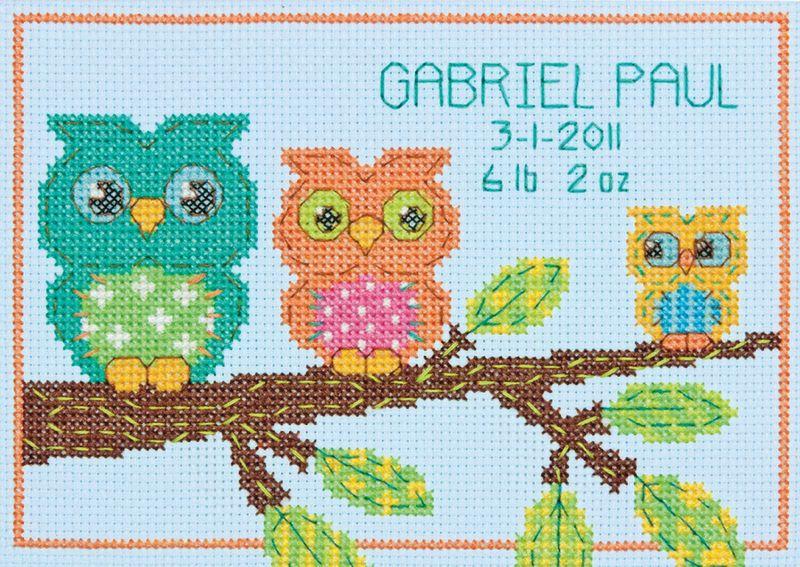 Free Printable Cross Stitch Patterns | Cross Stitch - Owl Birth ...