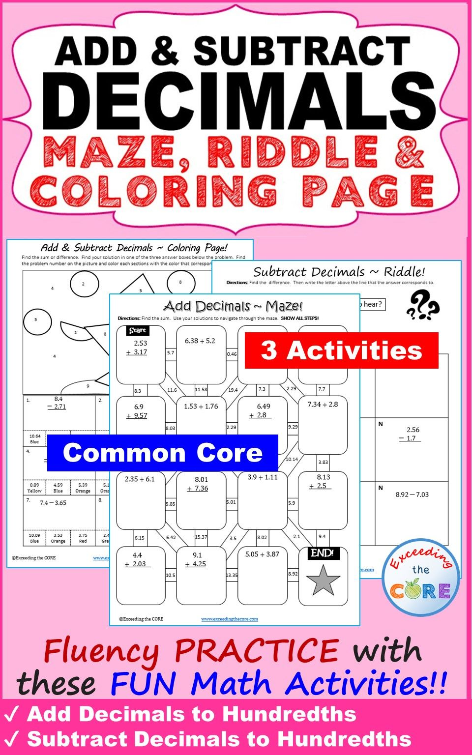 ADD AND SUBTRACT DECIMALS Maze, Riddle, Color by Number
