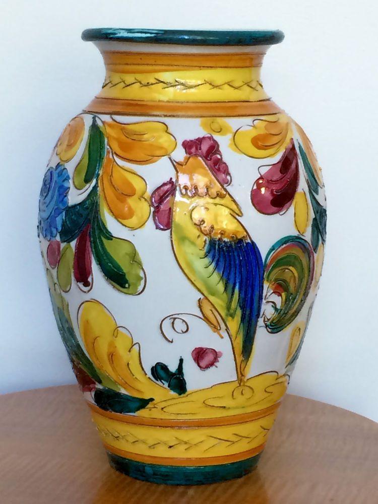 Large Vintage Italian Majolica Pottery Vase Bird Flowers Sgraffito