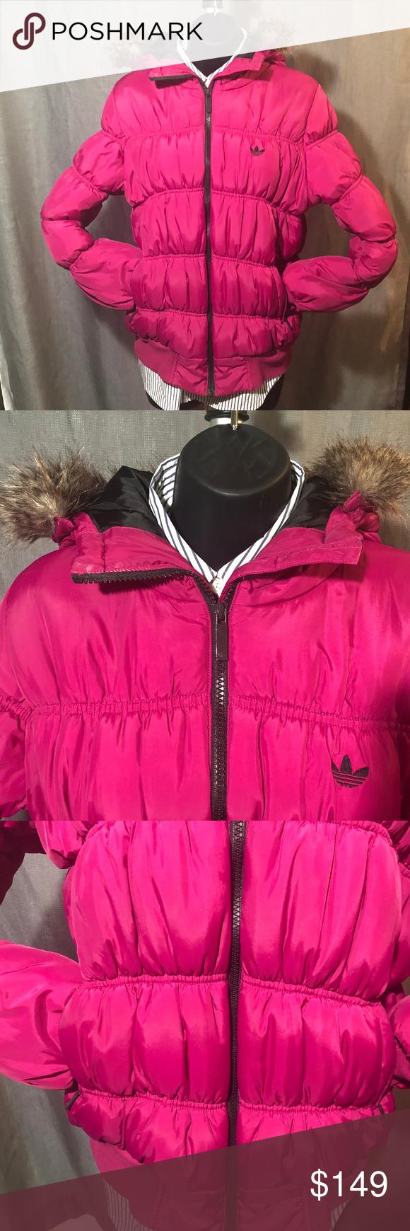 ADIDAS ORIGINAL Faux fur hooded puffy Coat   Clothes ...