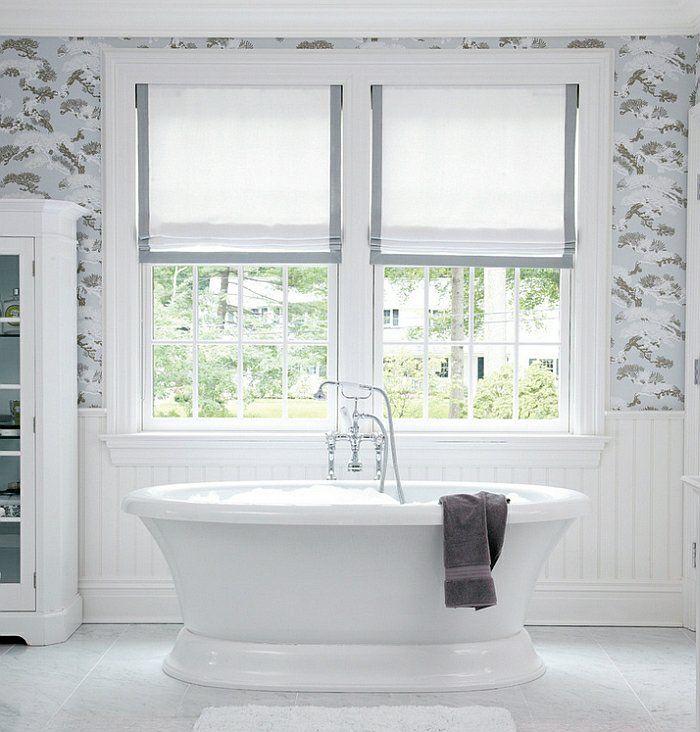 badezimmer gestalten freistehende badewanne fenster sichtschutz ...