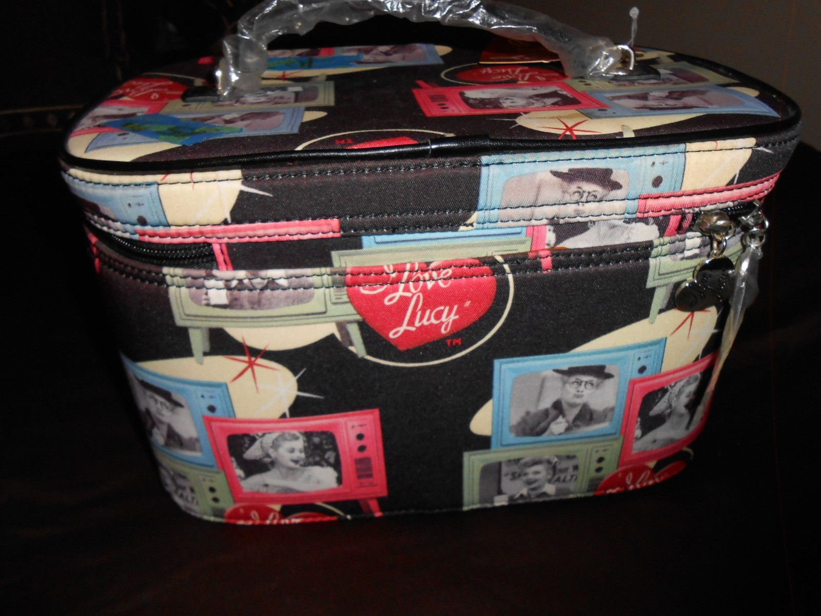I LOVE LUCY Cosmetic makeup lunch bag tote Case NEW mirror