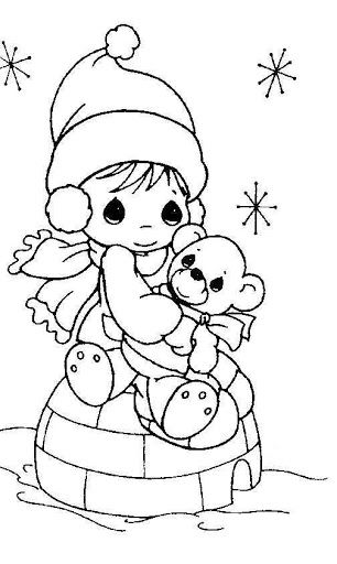 Girl in winter - precious moments coloring pages ...