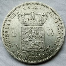 Netherlands - 1 guilder 1824 (with line between crown and coat of arms) William I - silver