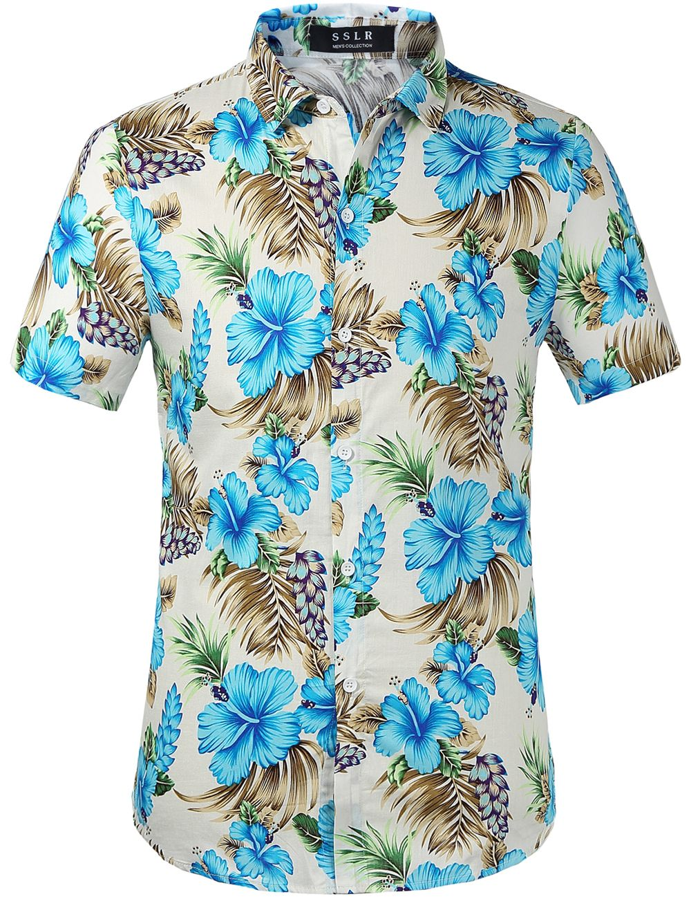 SSLR Mens Parrots Leaves Button Down Casual Short Sleeve Hawaiian Shirt