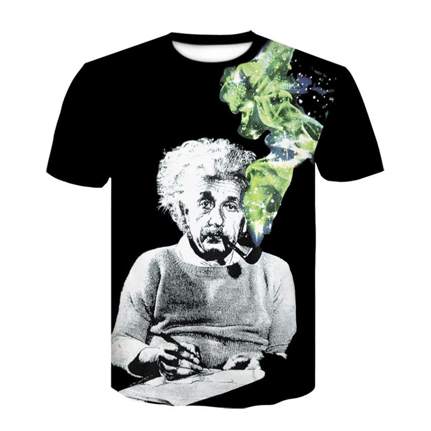 Cartoon Einstein Graphic T-shirt Men/'s Short Sleeve Crew Neck Casual Funny Tops