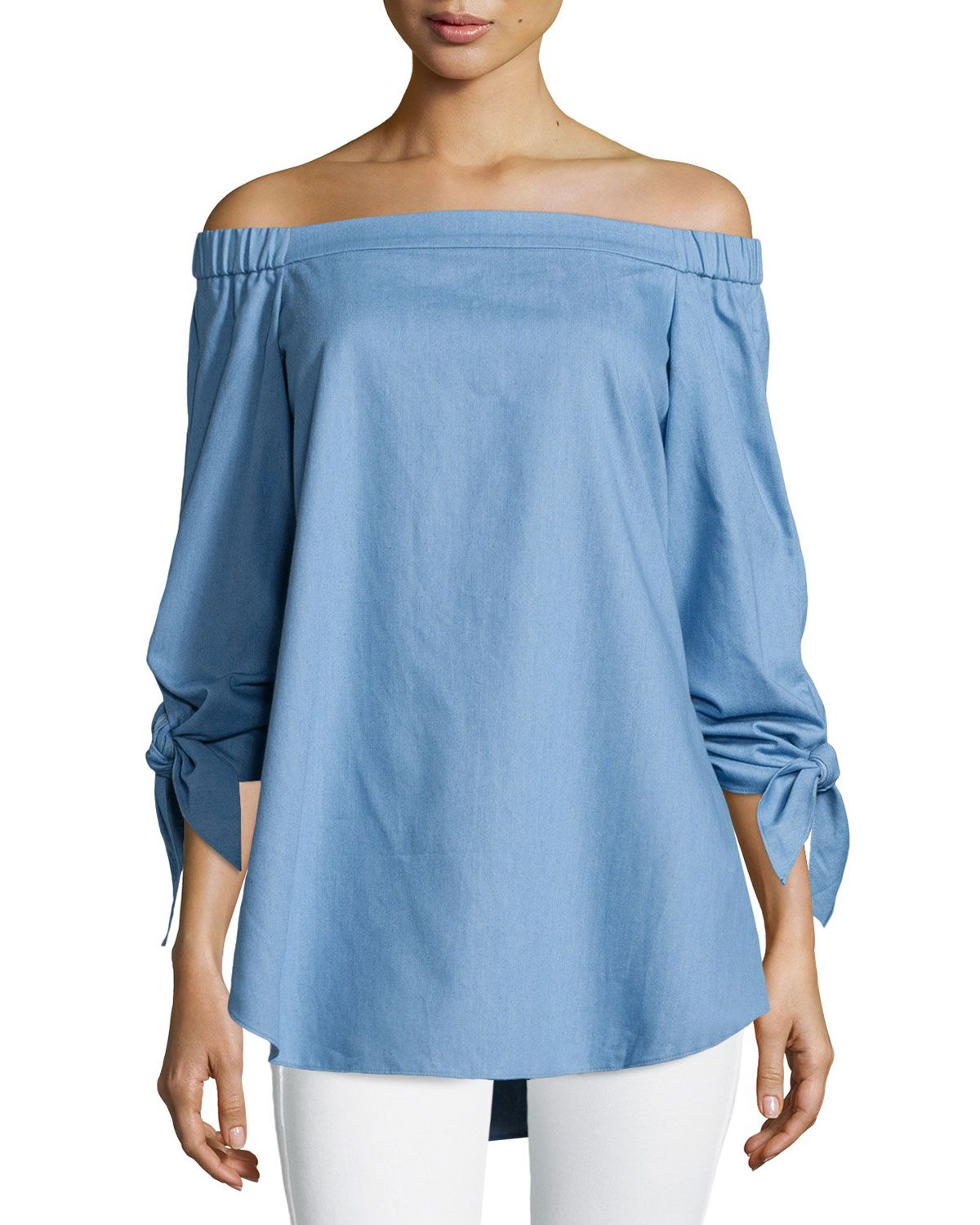 Tie-Sleeve Chambray Off-the-Shoulder Tunic, Brilliant Denim, Size: 6