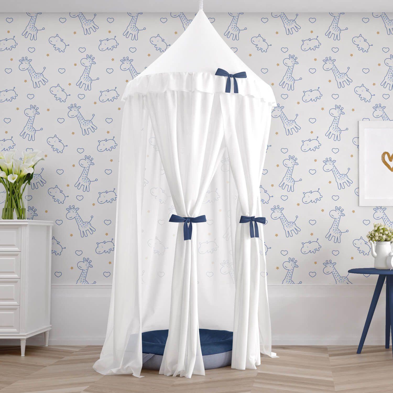 A Tenda Dossel Girafinha Cl Ssica Azul Marinho Transforma O Quarto  ~ Tapete Croche Quarto Infantil E Quarto De Bebe Com Dossel