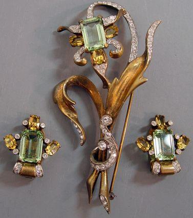 Mazer - Jomaz - Bijoux Vintage - Parure Broche et Boucles d'Oreilles