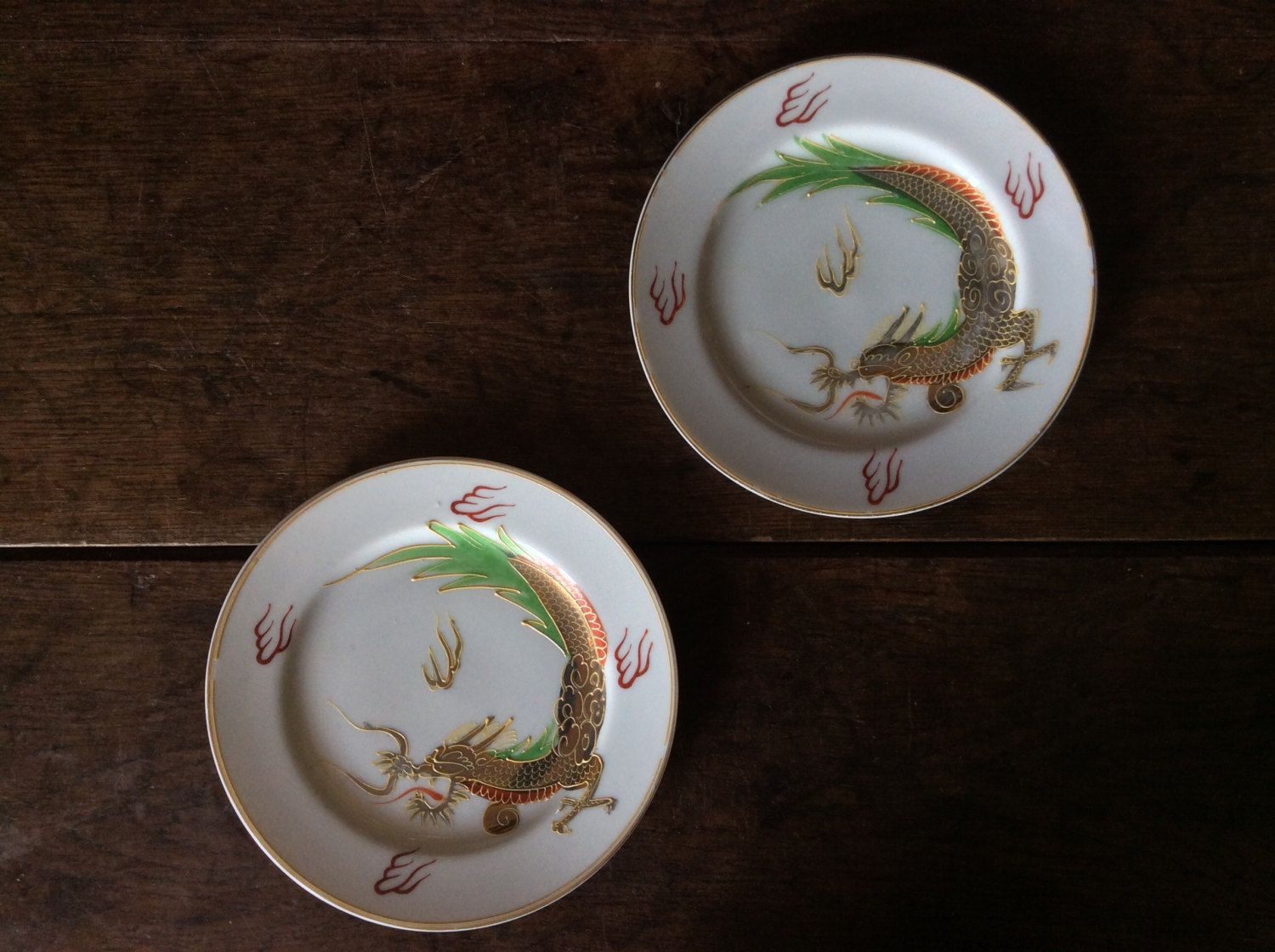 Vintage Japanese White Metalic Dragon Plates Set of 2 Side Lunch Plate Saucer Purchase in store & Vintage Japanese White Metalic Dragon Plates Set of 2 Side Lunch ...