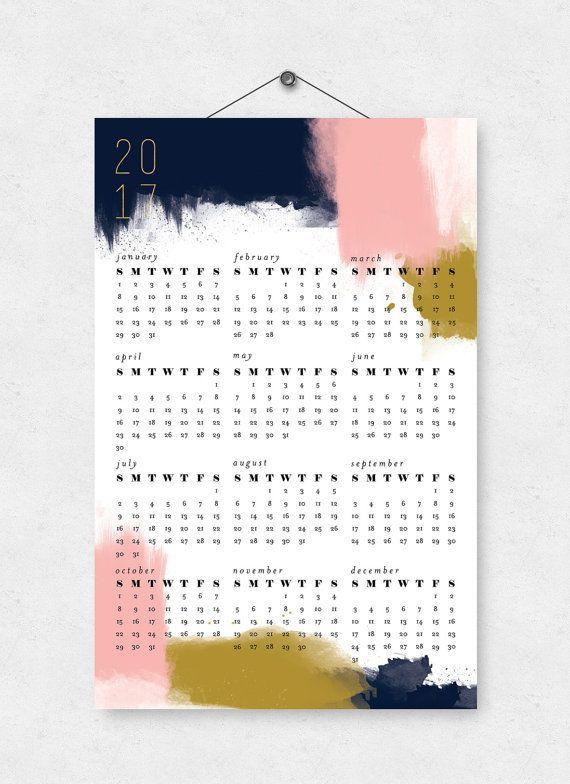 modern abstract 2017 wall calendar 11x17 printed calendar