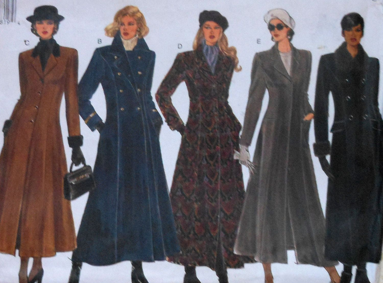 Long Women S Coat Sewing Pattern Uncut Vogue 1266 Sizes 12 16 Long Coat Women Long Coat Pattern Coats For Women