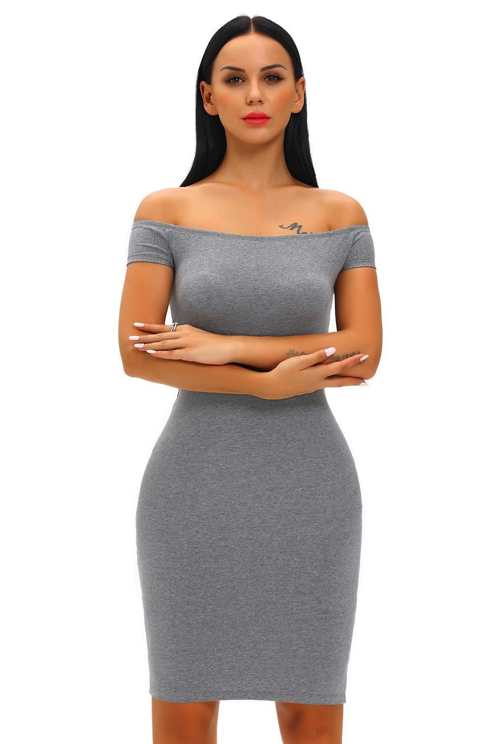29cb7428f1ad Fashion Bodycon Dress With Off Shoulder And Criss Cross Back