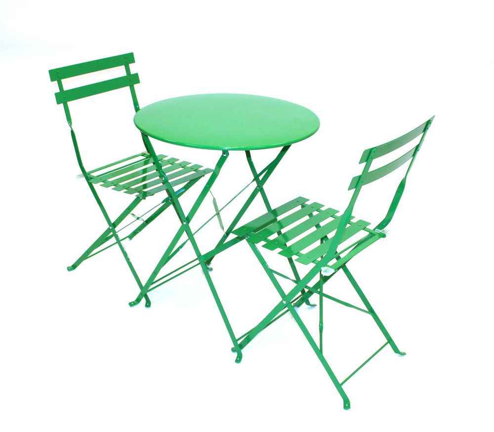 Green bistro set green balcony set metal folding table and