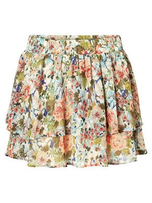 FLOWER MINI SKIRT, Oatmeal, main