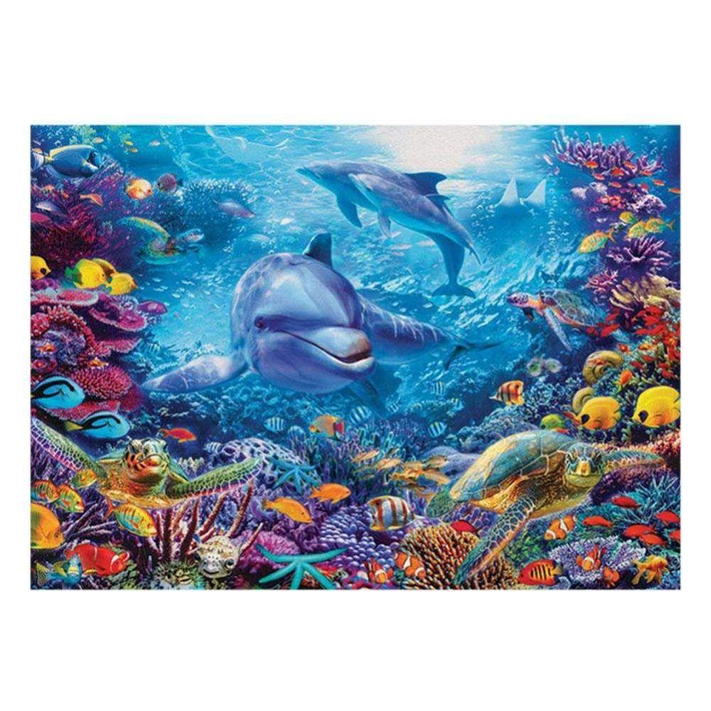Full Drill 5D DIY Diamond Painting Mosaic Dolphins Cross-Stitch Kits Home Decor