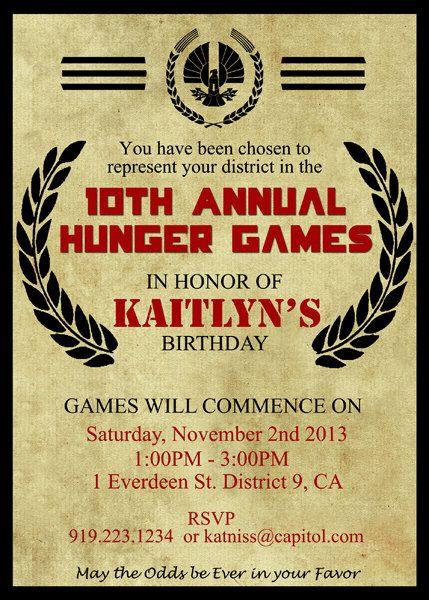 Hunger games inspired birthday invitation invite notice of hunger games invites so want to do this for my birthday stopboris Gallery