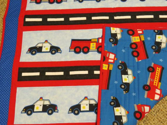 Heroes on Parade  Police Car and Firetruck by QuiltedCreationsSW