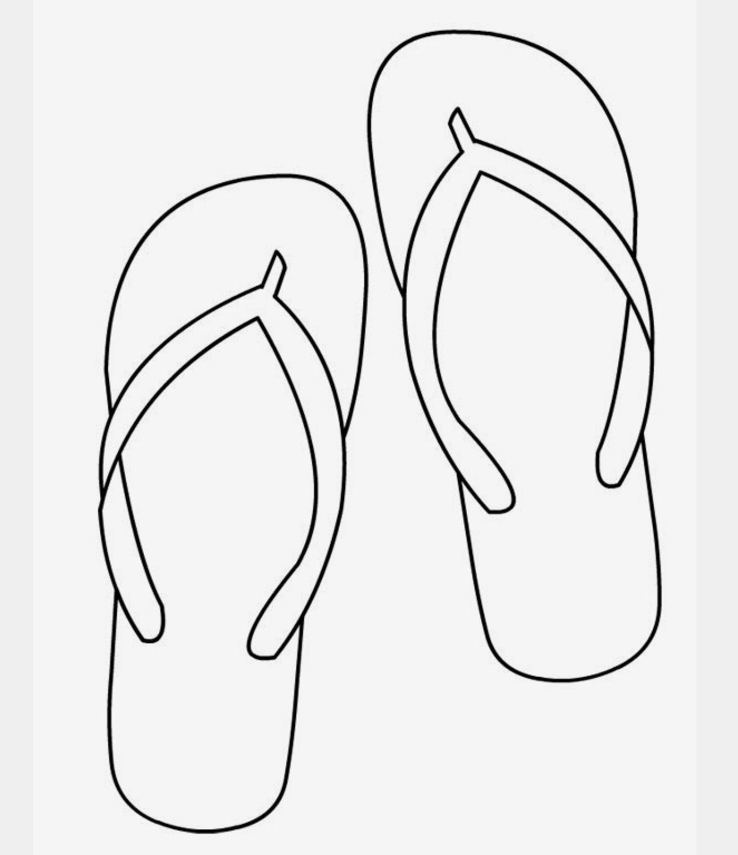 File Flops Flip Flop Craft Black And White Flip Flops Colouring Pages