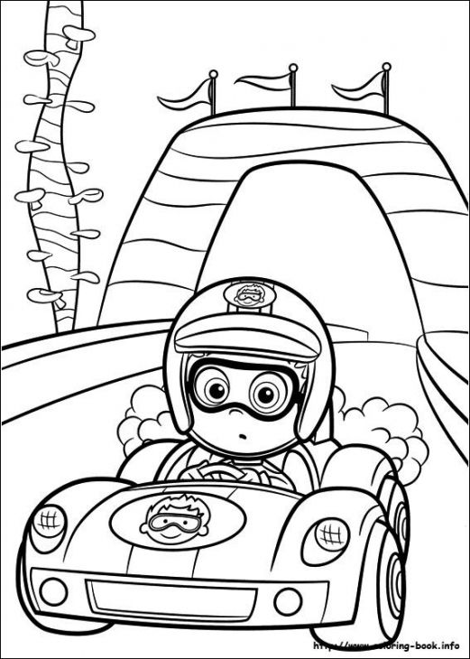 Nonny Bubble Guppies Driving Racing Car Coloring Page Online
