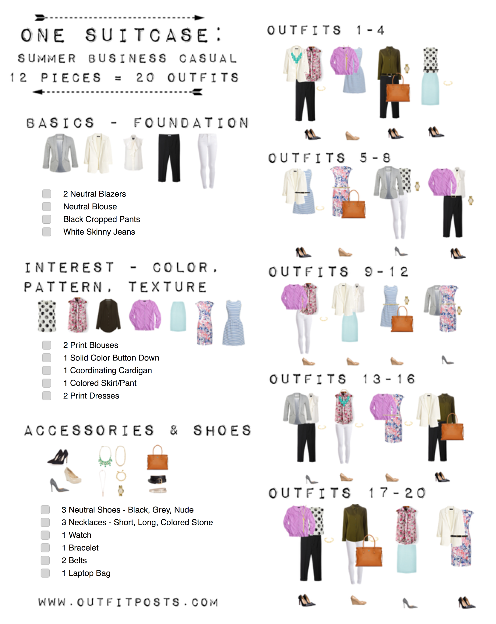 one suitcase checklist summer business casual capsule wardrobe