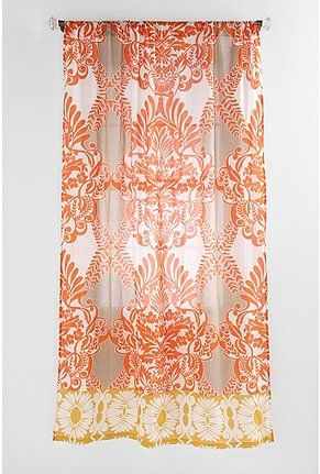 coral, white, and yellow curtains