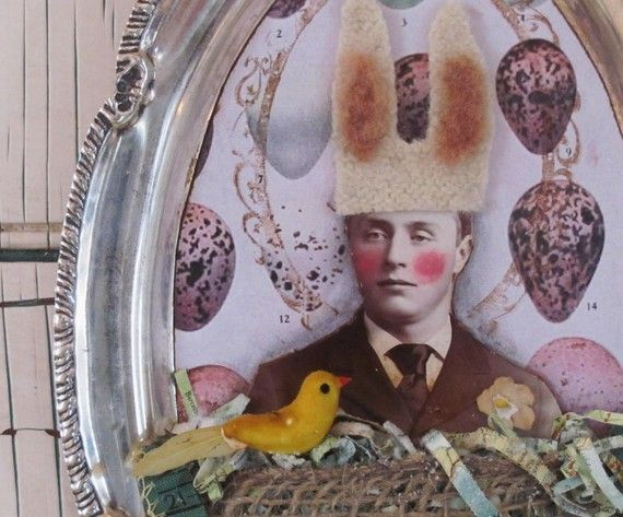 bunny birdman altered assemblage on silver by theoldwhitehouse, $35.00