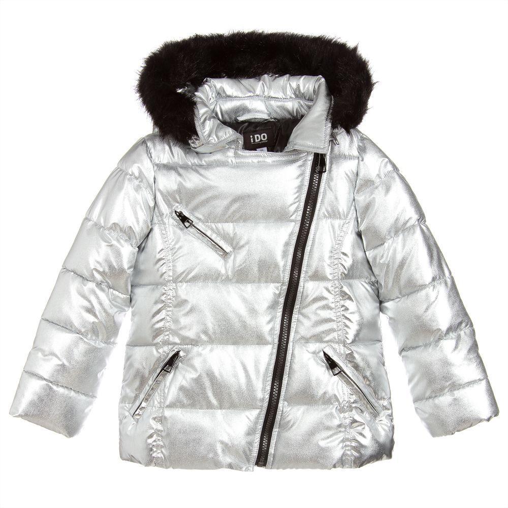 f38575ee7 Girls Silver Puffer Jacket