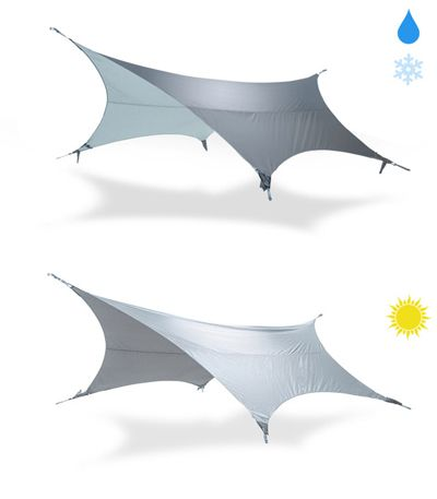 The Glider product from Kammok is a rain tarp for hammocks. It has the added benefit of funneling rain to ports that connect to water bottles.