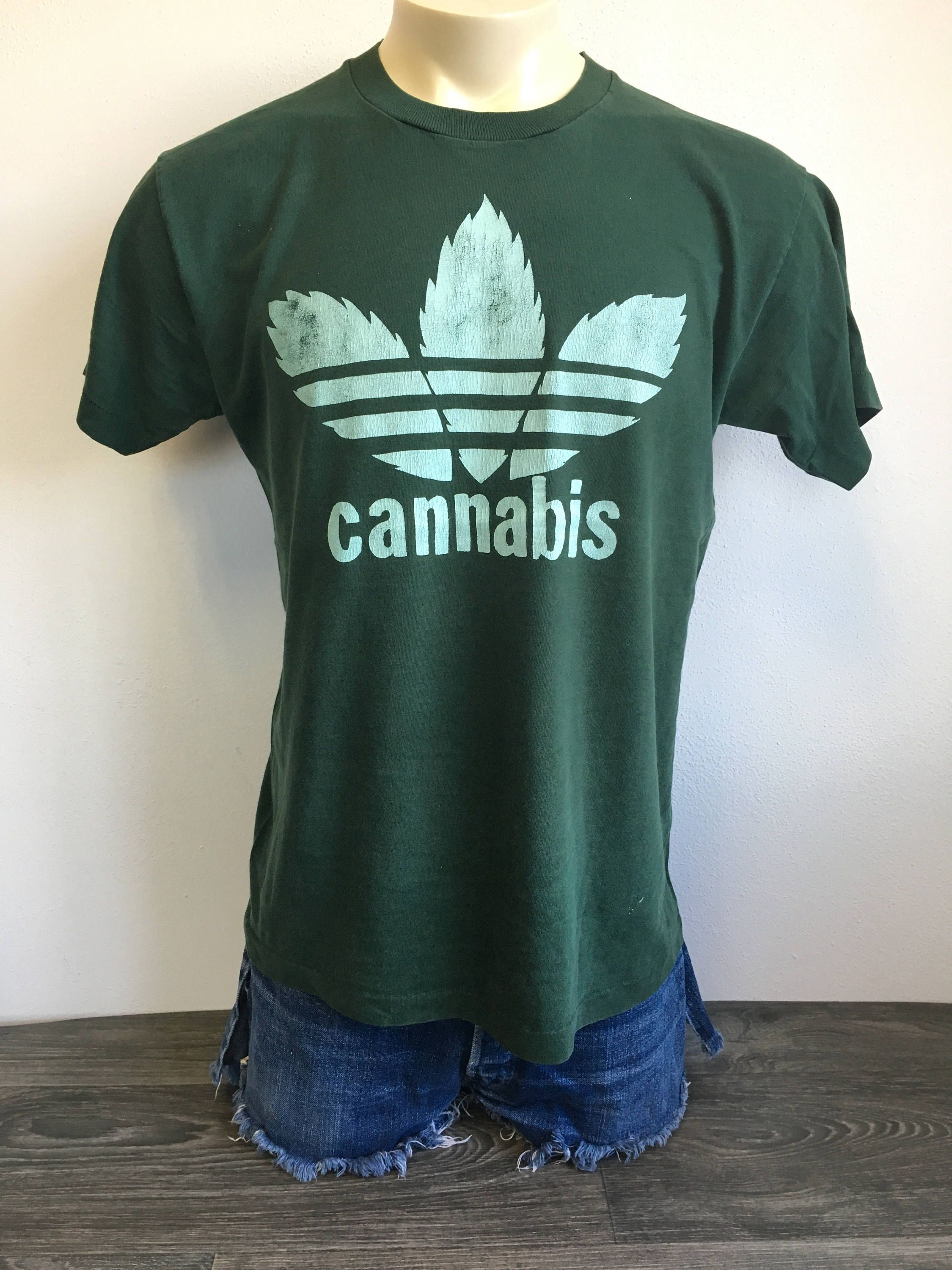57cbc3748 Cannabis Adidas Parody Shirt 90s Vintage RARE Funny Joint Pot Drug Leafs  Marijuana Weed Tshirt Trefoil Reefer Large Tee by sweetVTGtshirt on Etsy   weed ...