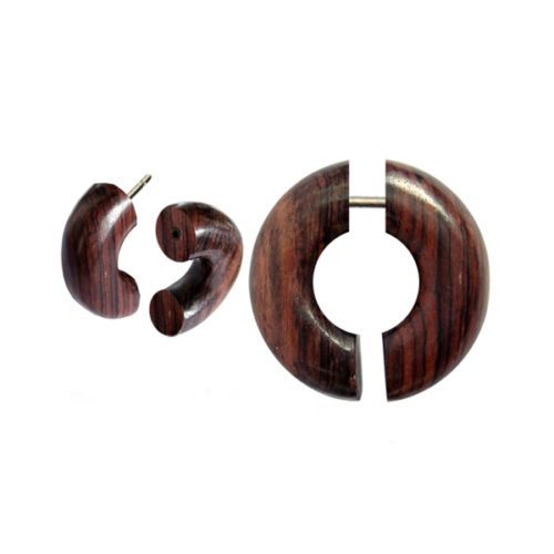 Pair-Fake-Faux-Hand-Carved-BROWN-ROUND-CIRCLE-SPIRAL-GAUGES-EARRING-Wood-Steel