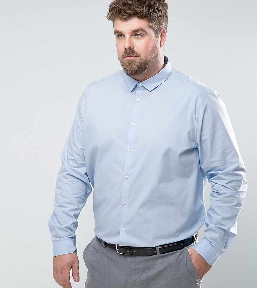 PLUS Regular Fit Shirt In Blue - Blue Asos Discount Collections Buy Cheap Official 9gG3V