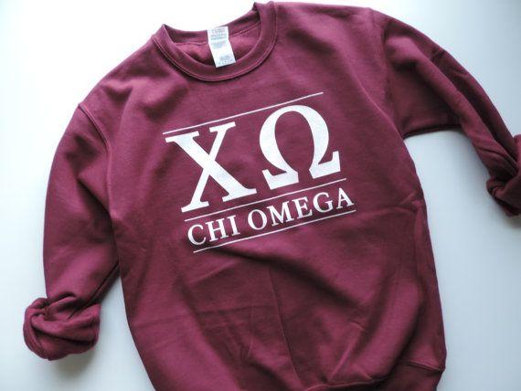 New Chi Omega Maroon Stripe Crewneck Sweatshirt // Size S-XL // You Pick Color qnCXn