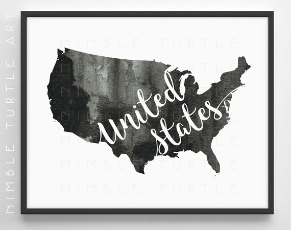 United States Outline Watercolor - Printable USA Wall Art - Black ...