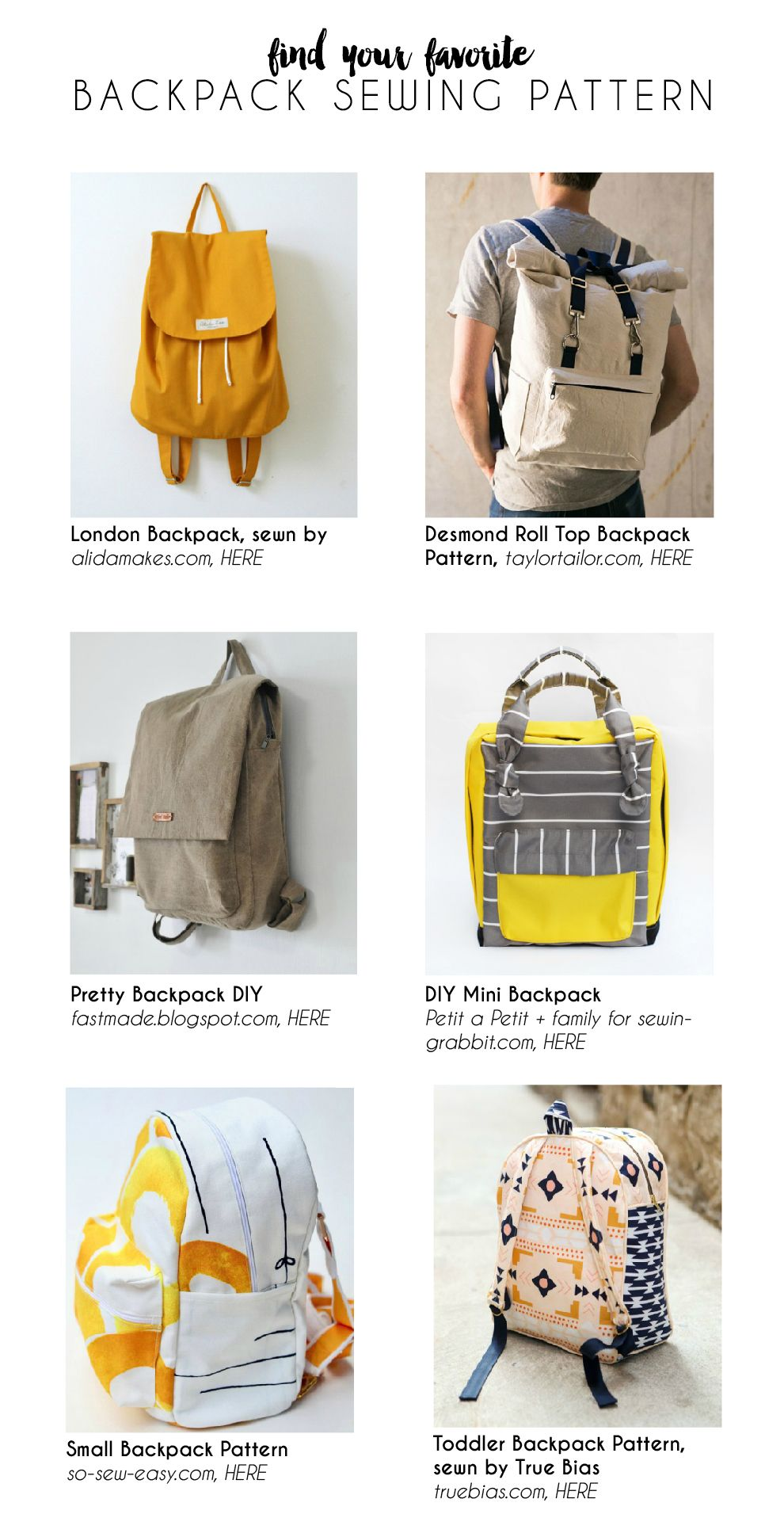 Mini Mag Backpack Pattern Sewing Backpack Pattern Small